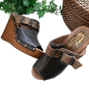 SBICCA LEATHER  and cork wedge  brown mules